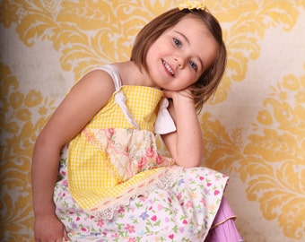 Boutique Girls Apron Knot Dress, Tea Party Dress, Prairie Girl  Dress, Birthday or Casual,size 3mos-10T