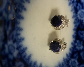 Estate Sterling Silver 925 1ct  Natural Rough Blue 1ct Sapphire Genuine Diamond Earrings Studs S237