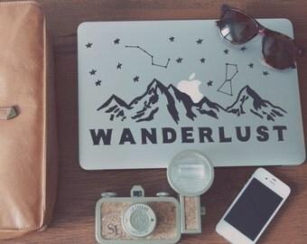 Wanderlust Mountain Range & Stars Full-Sized Macbook Decal