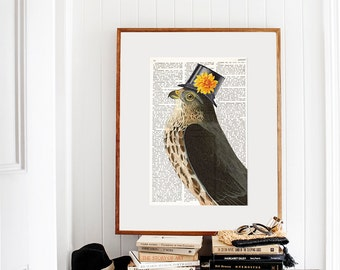 Dictionary Art Page STYLISH FALCON, Dictionary Art Print, Dictionary Paper, Bird with Hat, Wall Art, Quirky Wall decor, Vintage prints, #111