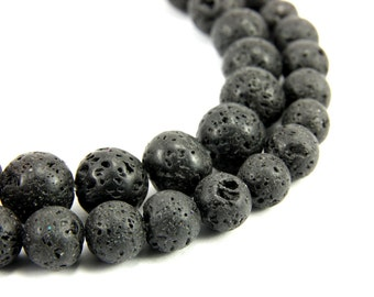 Lava Rock Bead, Black Lava Rock Gemstone Bead, 1 Strand Lava Rock Natural Stone Beads, 6mm 8mm 10mm Round Lava Rock Bead, Lava Bead
