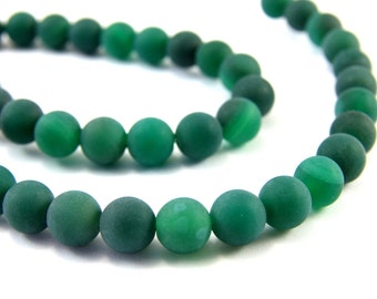 8mm Frosted Agate Beads, Full Strand (47pcs) Matte Agate Beads, Dark Green Agate Beads, Agate Loose Gemstone, Frosted Agate Beads