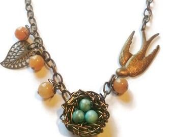 Bird Nest Necklace - Turquoise Birds Nest Necklace - Bronze Bird Nest Necklace - Birds Nest Jewelry - Robins Egg Bird Nest Jewelry