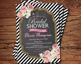 Bridal shower invitation. Elegant black and white stripes floral gold glitter chalkboard. Printable invitation. Printable Invite. BS001