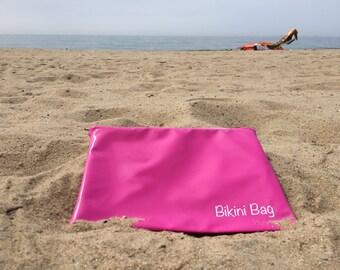 Hot Pink Bikini Bag, Large Wet Bag, Pink Bags, Wet Bikini Bag, Waterproof Bag, Wet Dry Bag, Hot Pink Bags, Wet Swimsuit Bag