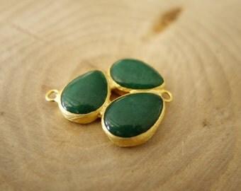 Emerald Green Jade Triple Teardrop Stone Charm Pendant Connector- 37 mm 24K Gold Plated Bezel Charm Pendant  - GS034-B