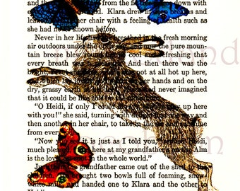 Heidi,instant download,5x7 inches,hare,rabbit,butterflies,blue,red,vintage book print,animal print,vintage images,digital,nursery art