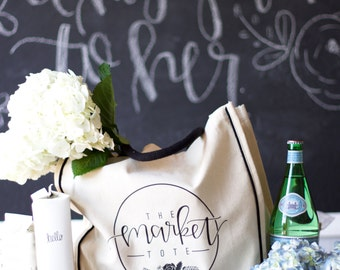 The Market Tote Bag // Farmers market bag // Grocery store Bag // Hand lettered tote bag
