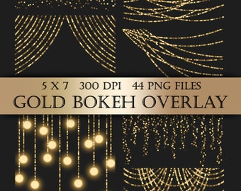 Gold Bokeh String Lights Digital Clipart Overlay  - gold bunting fairy lights christmas transparent backgrounds scrapbooking invitations