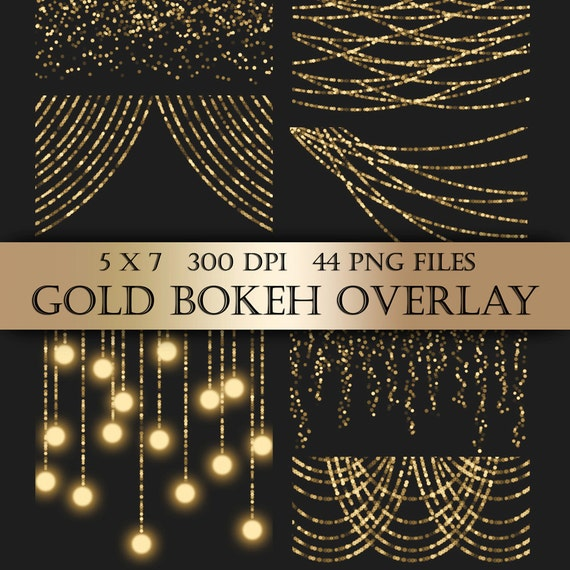 Gold Bokeh String Lights Digital Clipart Overlay Gold