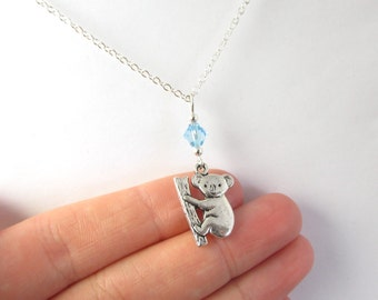 Koala Necklace- choose a birthstone, Koala Jewelry, Koala Charm Necklace, Koala Gift, Koala Pendant, Koala Birthstone, Koala Charm, Koala