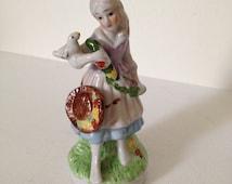 Vintage Girl Figurine-Bird and Garland