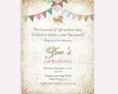 Carousel birthday invitation, mint, green, pink, gold, gold, glitter, bunting.  Printable, DIY. Birthday, bridal shower, baby shower.