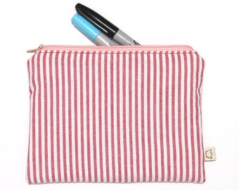 Red and white stripe pencil case, woven cotton zippered pouch