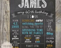 60th Birthday Chalkboard sign - Personalized 60th birthday gift for father mother sister brother or parents - DIGITAL file!