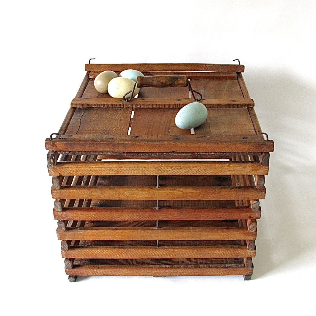 Vintage Wooden Crate Wooden Egg Crate Egg Carton by ...  |Egg Crate Shelving