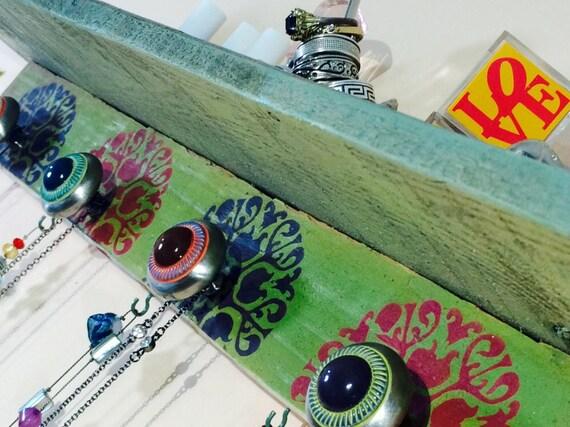 Floating shelves /coat rack with shelf wall mount hanging entryway organizer storage decor Art deco mandalas 4 hand painted knobs 5 hooks