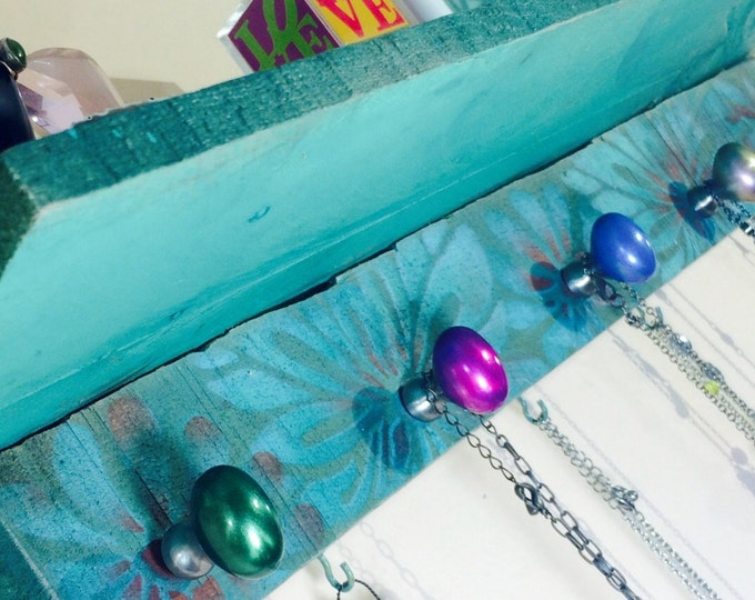 Made to order -floating shelves/ recycled wall shelf /jewelry holder wall hanging organizer /reclaimed pallet wood shelving 5 knobs 6 hooks