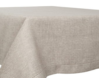 """Grey Linen Tablecloth - 55"""" Width - Length by choice - Large Size - Grey Linen"""