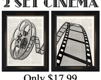 2 set Vintage Movie Reel dictionary art print. Great home theatre decor.Two prints on vintage dictionary book pages-8x10 or 11x14 inch.