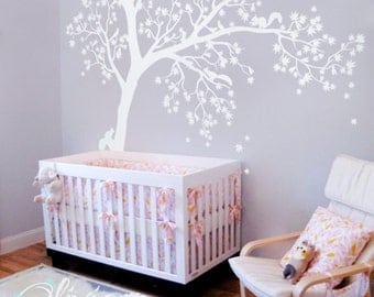 Large White tree decal Huge Tree wall decal Wall Art Tattoo Wall Mural Stickers Wall Decals Decor -  NT016_b