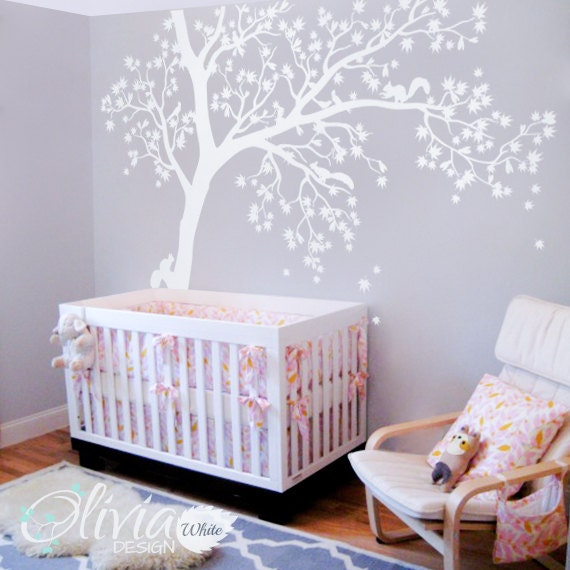Large White tree decal Huge Tree wall decal Wall Art Tattoo