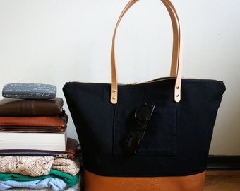 Large Weekend Travel Tote, Canvas Leather