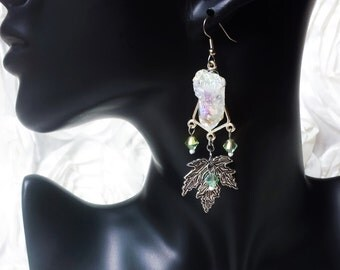Silvan Woods Rainbow Aura Quartz Earrings, forest earrings with minty green Swarovski crystals, rainbow aura quartz + silver maple leaves