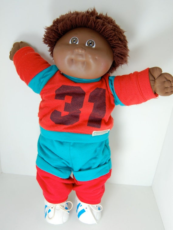 Vintage Cabbage Patch Kid African American Boy Doll Fuzzy Hair