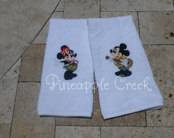 Hula Mickey and Minnie Mouse Hand Towels FREE MONOGRAM