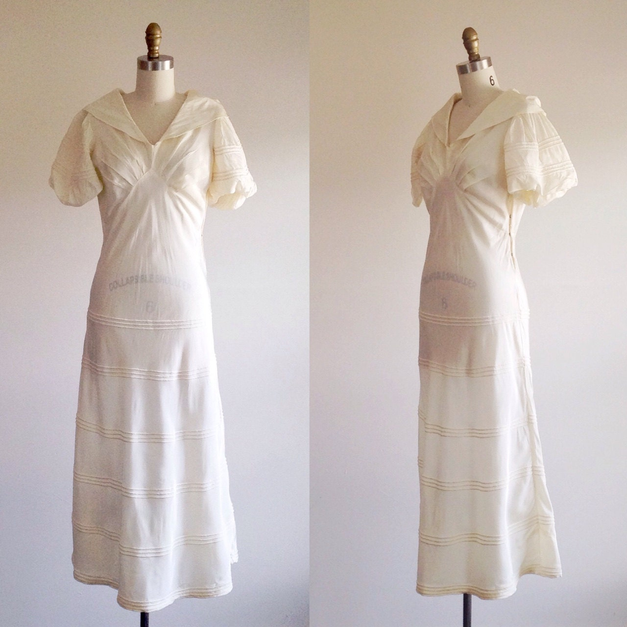 Simple wedding dress ivory wedding dress 1930s wedding for Simple ivory wedding dresses