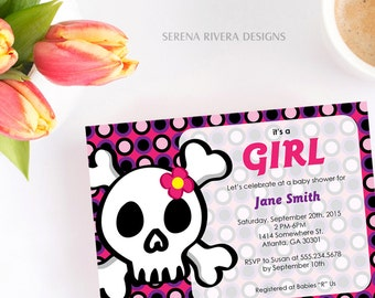 Rock and Roll Baby Shower, Rock n Roll Girl, Pirate Invite, Skull and Cross Bones, Punk Rock Baby, Girl Baby Shower Gift, 5x7
