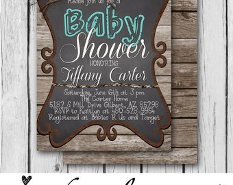 BOY BABY SHOWER Invitation, Rustic, Blue, Wood, Twine, Chalkboard, Rope, Country, Western - Bridal Shower / Baby - Digital and Printed