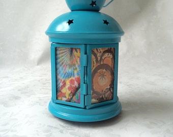 Lantern, Metal Lantern, Decorative Lantern, Decoupage Lantern, Turquoise Lantern, Decorative Home Accessory, Turquoise Home Accessory