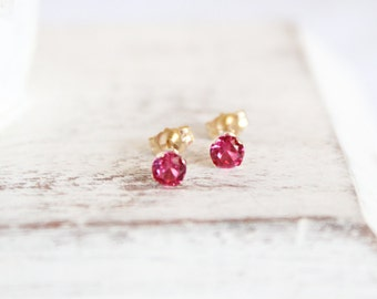 14k Gold and Pink Ruby Earrings - July Birthstone Studs - Gemstone Earrings - Simple Gold Earrings - Hot Pink Bridesmaids Gift  Ruby Jewelry