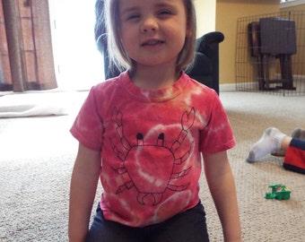 Custom Tie-Dye Toddler T-shirt with Crab Motif- Crab Shirt- Toddler Clothes- Summer Clothes- Toddler Tiedye- Sealife Ocean Theme Beachy