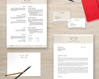 "Resume Template Package | CV Template + Cover Letter + Business Card + Thank You Note for MS Word | Instant Digital Download | The ""Aiden"""