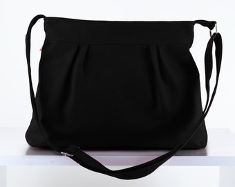 Black Small Purse Bag Teen girl Purse Washable Vegan Bag Pleated Bag Canvas Bag Shoulder bag Women Accessories High quality gift for her