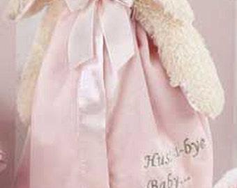 Personalized Baby Security Blanket Bunny Snuggler Lovie Baby Girl Gift Plush Stuffed Animal with Blanket