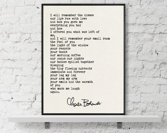 Charles Bukowski Quote, Bukowski Print, Valentines Day Gift, Romantic Quote, Anniversary Gift, Typewriter Quote, I will remember the kisses