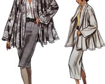 1980s woman jacket skirt & blouse pattern, Vogue 9976, size 8 to 12, very loose fitting, straight skirt, wrap blouse, UNCUT