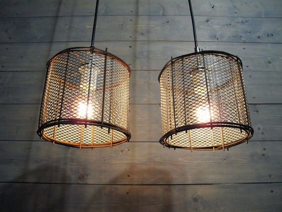 Pendant Light Industrial Cage Repurposed Rusted Steel By