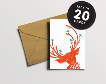 Funky Christmas Card pack of 20 - Reindeer seasonal card - Orange Deer - Textured fun cute lino print xmas greetings card