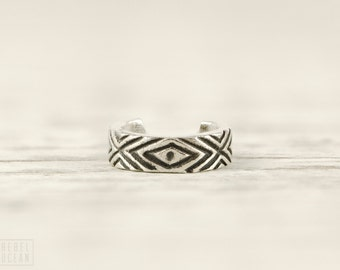 Sterling Silver Ear Cuff Earring Aztec Evil Eye Chevron Ear Wrap Earrings Boho Jewelry - ECU006 SS