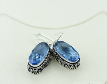London Blue Topaz (Lab Simulated) Vintage Filigree Setting 925 SOLID (Nickel Free) Sterling Silver Dangle Earrings e455