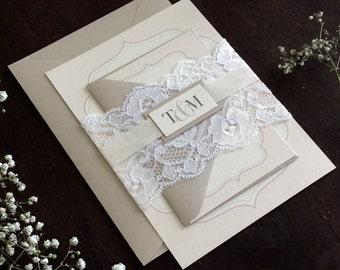 Elegant Lace Wedding Invitation Sample