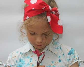 "Baby big bow headband, baby girl headband, baby headband, summer fabric, red and white, polka dot, baby knot headband, ""Minnie"""