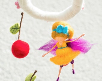 Colorful baby mobile with fairy, cherries, and cherry blossoms, needle felted, Waldorf inspired