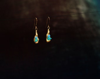 Turquoise in Gold Earrings