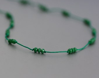 Delicate Short Layering Necklace Featuring Tiny Opaque Emerald Green Crystal Beads Hand-knotted on Pure Silk Cord